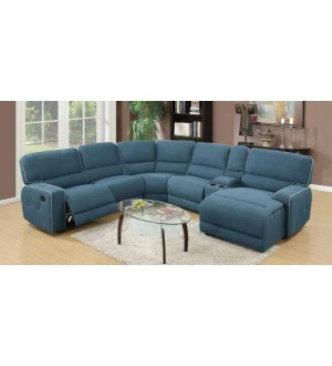 ACME - Becker blue fabric Sectional