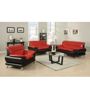 ACME - RED/BK BONDED LEATHER SOFA