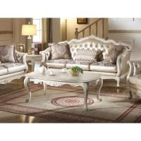 ACME - Chantelle pearl white finish Rose gold PU/Fabric sofa