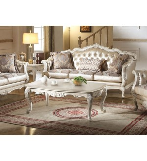 ACME - Chantelle pearl white finish Rose gold PU/Fabric sofa