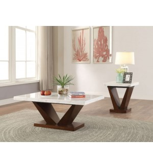 ACME- Forbes white marble top walnut finish