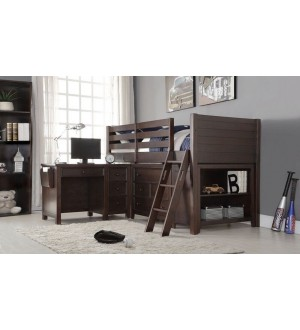 ACME-LACEY TWIN LOFT BED + DESK+CHEST+BOOKCASE