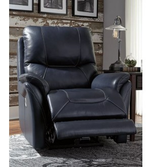 Ashley Furniture Stolpen - Blue Power Recliner/adjustable Headrest