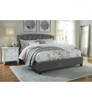 Ashley- Kasidon Collection Fabric Bed in Grey