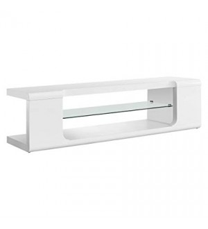"Monarch-TV STAND - 60""L / HIGH GLOSSY WHITE WITH TEMPERED GLASS"
