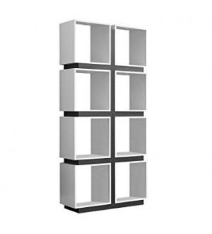 "MN-White/Grey Hollow-Core Bookcase, 71"""