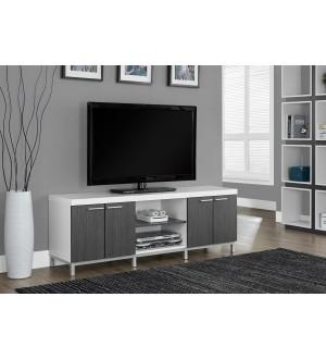 """Monarch 2591 TV STAND - 60""""L / WHITE / GREY"""