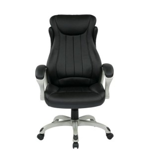 OSP Eco Leather Executive Mangers Chair Silver Black
