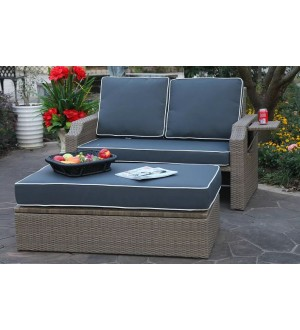 OnSight  Santorini Wicker Loveseat w/Ottoman