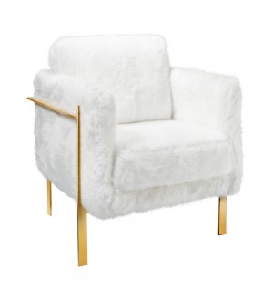 Abigail White Fur Gold Chair