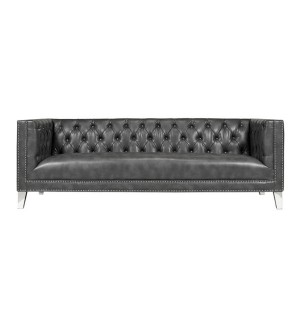 Barcelona Grey Bonded Leather Sofa