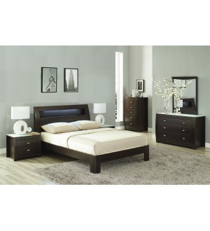 SK TOMI Bedroom set 8pcs Matt Brown color